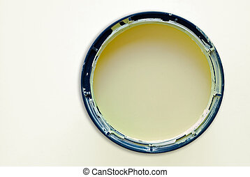 Round paint tin - Round paint or painting container tin on...