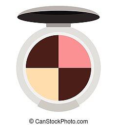 Round palette eye shadow icon, flat style