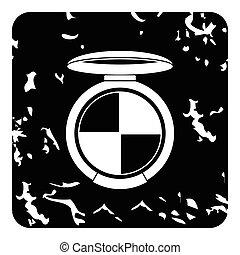 Round palette eye shadow icon, grunge style