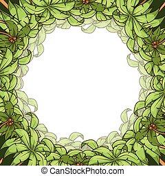 Round palm frame vector illustration