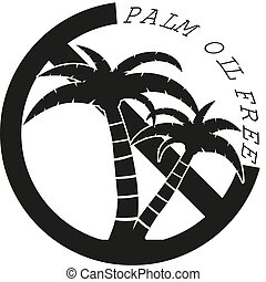 round palm oil free label with palm tree