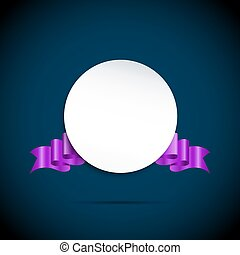 round paper banner with purple color ribbon