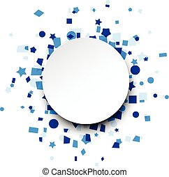 Round paper card over blue confetti.