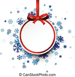 Round paper christmas ball on blue snowflakes.
