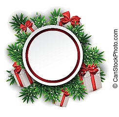 Round paper christmas card with gift boxes.