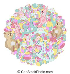 Round pastel cartoon doodles baby toy vector illustration
