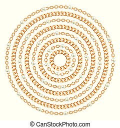 Round pattern made with golden chains and pearls. On white. Vector illustration