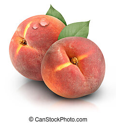 Round Peaches on White Background