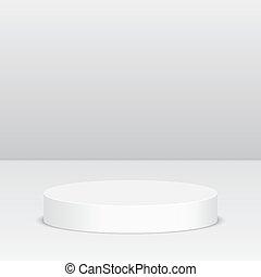 Round pedestal for display. Platform for design. Realistic ...