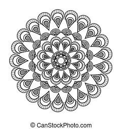 round petali like decorative line mandala icon - flat design...