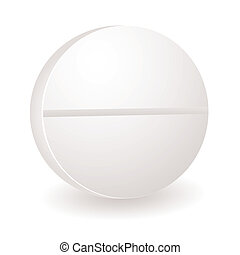 round pill illustration - Single white round illustration of...