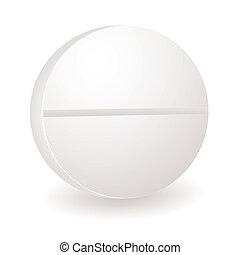 round pill illustration - Single white round illustration of...