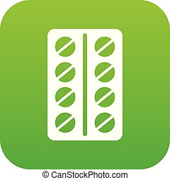 Round pills in a blister pack icon digital green