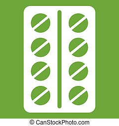 Round pills in a blister pack icon green