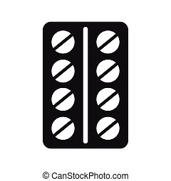 Round pills in a blister pack icon, simple style