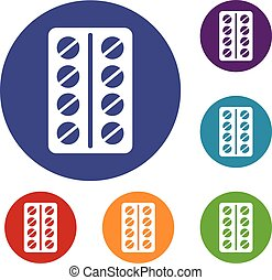 Round pills in a blister pack icons set