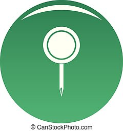Round pin icon vector green
