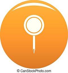 Round pin icon vector orange