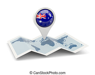 Round pin with flag of australia
