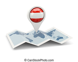 Round pin with flag of austria