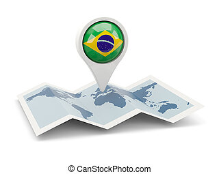Round pin with flag of brazil