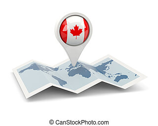 Round pin with flag of canada