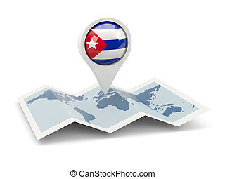 Round pin with flag of cuba on the map