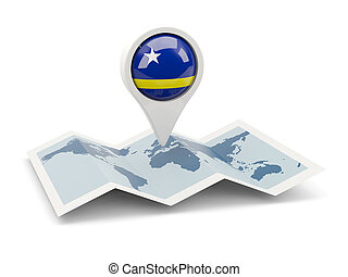 Round pin with flag of curacao