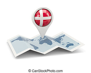 Round pin with flag of denmark