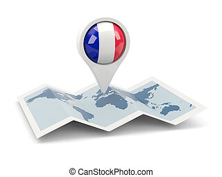 Round pin with flag of france