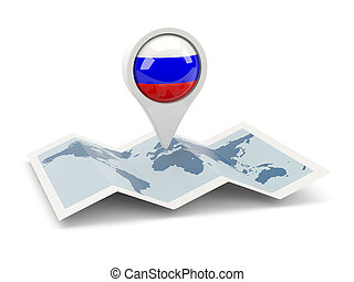 Round pin with flag of russia