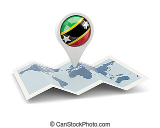 Round pin with flag of saint kitts and nevis on the map