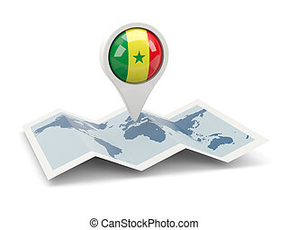 Round pin with flag of senegal