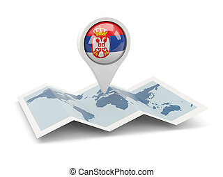 Round pin with flag of serbia