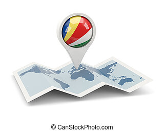 Round pin with flag of seychelles