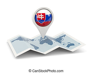 Round pin with flag of slovakia