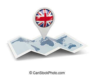 Round pin with flag of united kingdom