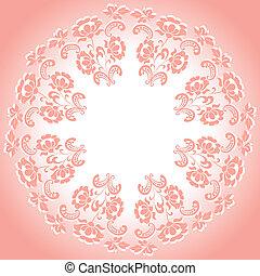 Round pink floral frame