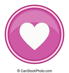 Round pink icon with a white heart. Vector illustration.