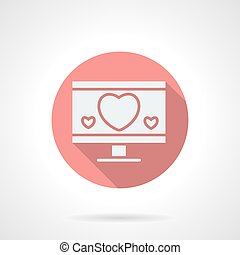Round pink love chat flat vector icon