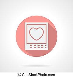 Round pink love photo flat vector icon