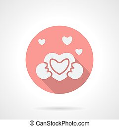 Round pink love proposal flat vector icon