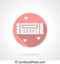 Round pink romantic coupon flat vector icon