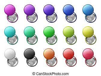 Round pinned badges tag. Circle magnet 3D badge, simple glossy plastic or metal labels. Vector realistic multicolor isolated mockup icons set