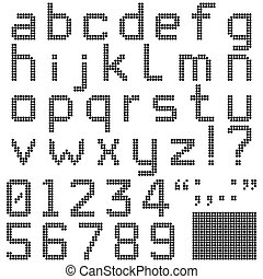 Round Pixel Font - Lower case alphabets, numerals and...