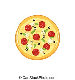 Round pizza vector icon isolated on white background