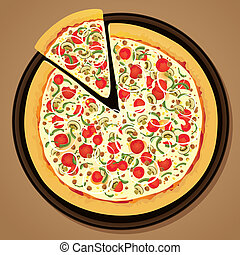 Round pizza with slice