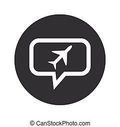 Round plane dialog icon - Image of plane in chat bubble, in...