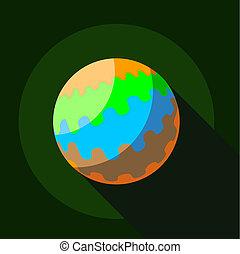Round planet icon, flat style