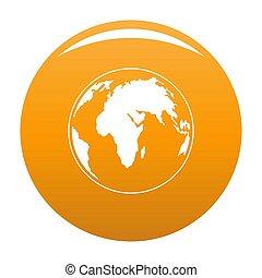 Round planet icon orange
